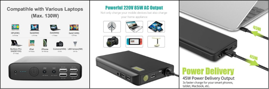 Types of laptop power bank with DC, AC and USB-C PD output port